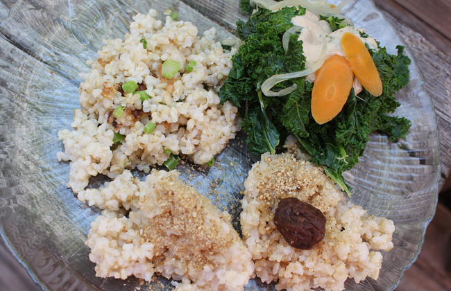 Simple and beautiful delicious three different kinds brown rice with vegetables.