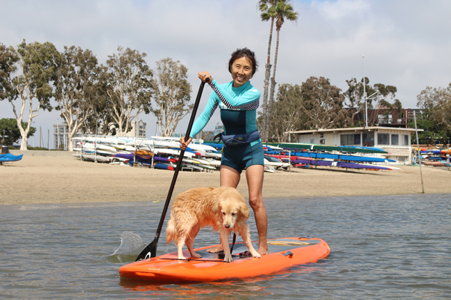 My first paddle board with Lumi